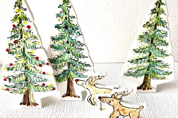 Reindeer and Fir Trees Pottery Ornaments Louise Crookenden-Johnson